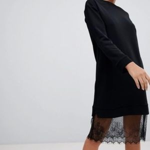 ASOS Black Midi Sweat Dress with Lace Hem NWT C6